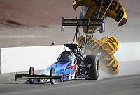 Mar. 31, 2012; Las Vegas, NV, USA: NHRA top fuel dragster driver Cory McClenathan during qualifying for the Summitracing.com Nationals at The Strip in Las Vegas. Mandatory Credit: Mark J. Rebilas-