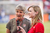 United States (USA) head coach Pia Sundhage is interviewed prior to playing China PR (CHN). The United States (USA) women defeated China PR (CHN) 4-1 during an international friendly at PPL Park in Chester, PA, on May 27, 2012.