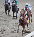 Birdrun, trained by Bill Mott and ridden by by Rajiv Maragh, wins the grade II Brooklyn Handicap at Belmont Park, Elmont, NY on June 10, 2011.