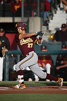 Lyle Lin (27) of the Arizona Sun Devils bats against the Southern California Trojans at Dedeaux Field on March 24, 2017 in Los Angeles, California. Southern California defeated Arizona State, 5-4. (Larry Goren/Four Seam Images)