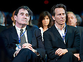 Actors Richard Kind, left, and Steven Weber, right, listen as United States President Barack Obama delivers remarks at the American Israel Public Affairs Committee (AIPAC) Policy Conference in Washington, D.C. on Sunday, March 4, 2012..Credit: Ron Sachs / Pool via CNP