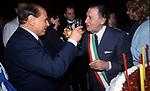 SILVIO BERLUSCONI CON ALBERTO SORDI<br /> GLI 80 ANNI DI ALBERTO SORDI <br /> NOMINATO PER L'OCCASIONE SINDACO DI ROMA PER UN GIORNO - 15 GIUGNO 2000
