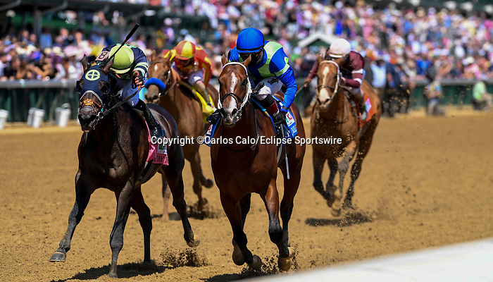 May 1, 2021 : Jackie's Warrior, #3, ridden by jockey Joel rosario, wins the Pat Day Mile on Kentucky Derby Day at Churchill Downs on May 1, 2021 in Louisville, Kentucky. Carlos Calo/Eclipse Sportswire/CSM