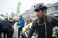 Daniel Teklehaimanot (ERI/MTN-Qhubeka) at the start of the 102nd Liège-Bastogne-Liège 2016