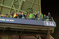 LOS ANGELES, CA - OCTOBER 29: Traveling supporters of Seattle Sounders FC celebrate during a game between Seattle Sounders FC and Los Angeles FC at Banc of California Stadium on October 29, 2019 in Los Angeles, California.