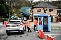 21st November 2020; Adams Park Stadium, Wycombe, Buckinghamshire, England; English Football League Championship Football, Wycombe Wanderers versus Brentford; Temperature testing on arrival at Adams Park due to the pandemic