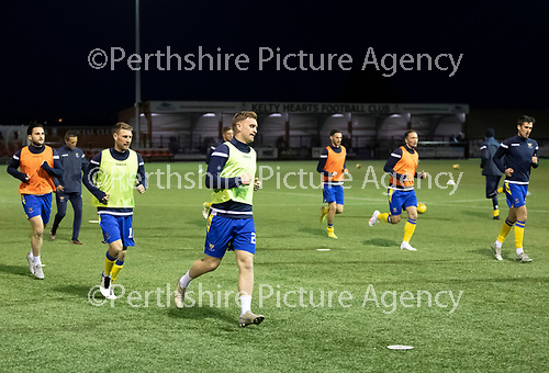 Kelty Hearts v St Johnstone…07.10.20   New Central Park  Betfred Cup<br />Liam Craig, David Wotherspoon and Craig Conway pictured during the warm-up.<br />Picture by Graeme Hart.<br />Copyright Perthshire Picture Agency<br />Tel: 01738 623350  Mobile: 07990 594431