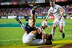 George Horne of Scotland is tackled by Callum Sirker of England during their Pool C match between England and Scotland as part of the HSBC Hong Kong Rugby Sevens 2018 on 06 April 2018, in Hong Kong, Hong Kong. Photo by Marcio Rodrigo Machado / Power Sport Images