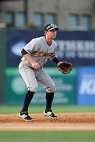 Third baseman Ryan Lindemuth (10) of the Charleston RiverDogs plays the infield in a game against the Greenville Drive on Monday, June 29, 2015, at Fluor Field at the West End in Greenville, South Carolina. Greenville won, 4-2. (Tom Priddy/Four Seam Images)