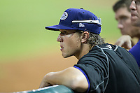 Winston-Salem Dash starting pitcher Carson Fulmer (16) watches the action from the top rail of the dugout during the game against the Carolina Mudcats at BB&T Ballpark on July 23, 2015 in Winston-Salem, North Carolina.  The Dash defeated the Mudcats 3-2.  (Brian Westerholt/Four Seam Images)
