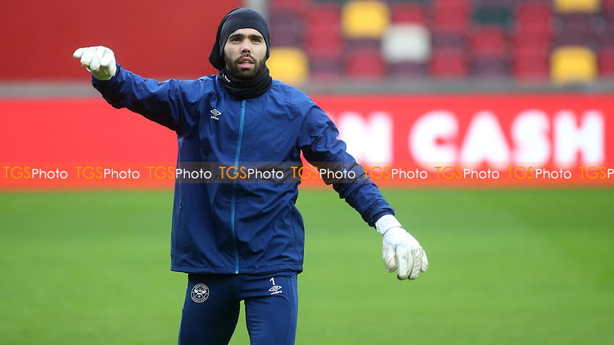 Brentford goalkeeper, David Raya, warms up ahead of kick-off during Brentford vs Wycombe Wanderers, Sky Bet EFL Championship Football at the Brentford Community Stadium on 30th January 2021