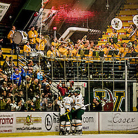 24 October 2015: The University of Vermont Catamount Band helps the Cats celebrate their first goal of the game in the first period against the University of North Dakota at Gutterson Fieldhouse in Burlington, Vermont. North Dakota defeated the Catamounts 5-2 in the second game of their weekend series. Mandatory Credit: Ed Wolfstein Photo *** RAW (NEF) Image File Available ***