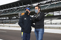 28th May 2021; Indianapolis, Indiana, USA;  NTT Indy Car Series car driver Tony Kanaan talks with 3 time Indy 500 winner Dario Franchitti during Miller Lite Carb Day as teams prepare for the 105th running of the Indianapolis 500