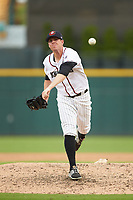 Charlotte Knights relief pitcher Aaron Bummer (31) delivers a pitch to the plate against the Durham Bulls at BB&T BallPark on July 4, 2018 in Charlotte, North Carolina. The Knights defeated the Bulls 4-2.  (Brian Westerholt/Four Seam Images)