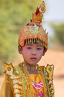 Young novice during noviciation ceremony in Bagan, Myanmar