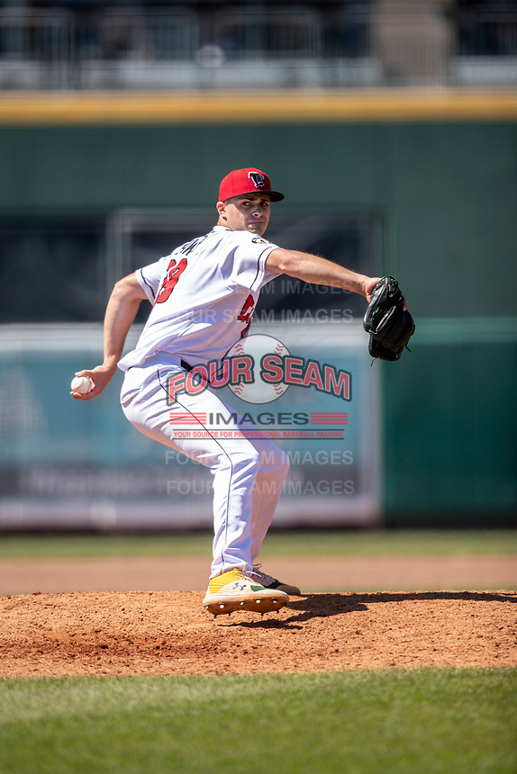 Lansing Lugnuts pitcher Dalton Sawyer (29) delivers a pitch to the plate on May 30, 2021 against the Great Lakes Loons at Jackson Field in Lansing, Michigan. (Andrew Woolley/Four Seam Images)