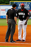 Chattanooga Lookouts manager Tommy Watkins (8) argues with third base umpire Chase Eade during the game against the Montgomery Biscuits on May 25, 2018 at AT&T Field in Chattanooga, Tennessee. Watkins would be ejected from the game. (Andy Mitchell/Four Seam Images)