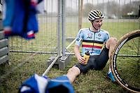 Toon Vandenbosch (BEL/U23) post-race<br /> <br /> U23 Men's Race<br /> UCI cyclocross WorldCup - Koksijde (Belgium)<br /> <br /> ©kramon