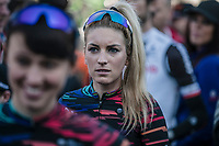 Pauline Ferrand Prevot (FRA/Canyon SRAM racing) awaiting the women pre race sign on.<br /> <br /> 2nd Amstel Gold Race Ladies Edition 2018 (1.WWT)<br /> 1 Day Race: Maastricht > Berg en Terblijt (117km)