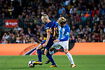 Andres Iniesta Lujan (l) of FC Barcelona fights for the ball with Sergio Gontan Gallardo, Keko, of Malaga CF during the La Liga 2017-18 match between FC Barcelona and Malaga CF at Camp Nou on 21 October 2017 in Barcelona, Spain. Photo by Vicens Gimenez / Power Sport Images