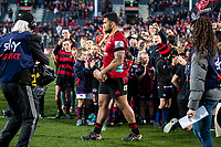 Codie Taylor carries the trophy after the 2020 Super Rugby match between the Crusaders and Highlanders at Orangetheory Stadium in Christchurch, New Zealand on Saturday, 9 August 2020. Photo: Joe Johnson / lintottphoto.co.nz