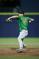 Down East Wood Ducks relief pitcher Nick Starr (38) in action against the Kannapolis Cannon Ballers at Atrium Health Ballpark on May 5, 2021 in Kannapolis, North Carolina. (Brian Westerholt/Four Seam Images)