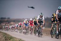 World Champion Peter Sagan (SVK/Bora-Hansgrohe) over the 'Plugstreets' gravel sections<br /> <br /> 81st Gent-Wevelgem in Flanders Fields (1.UWT)<br /> Deinze > Wevelgem (251km)