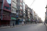 Empty streets and closed shops following earthquake hit Nepal, Kathmandu, Nepal.  A 7.3 magnitude earthquake killed at least 37 people and spread panic in Nepal on Tuesday, bringing down buildings already weakened by a devastating tremor less than three weeks ago and unleashing landslides in Himalayan valleys near Mount Everest. Kathmandu, Nepal. May 12, 2015