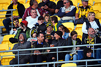 Fans in the grandstand during the Super Rugby Aotearoa match between the Hurricanes and Chiefs at Sky Stadium in Wellington, New Zealand on Saturday, 20 March 2020. Photo: Dave Lintott / lintottphoto.co.nz