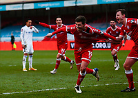 10th January 2021; Broadfield Stadium, Crawley, Sussex, England; English FA Cup Football, Crawley Town versus Leeds United; Jordan Tunnicliffe of Crawley celebrates as he scores for 3-0 in the 70th minute