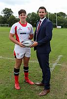 Ulster Rugby Schools 2018-2019<br /> <br /> Tom Stewart Ulster Schools captain with Danske Bank representative Ian Russell.<br /> <br /> Photo by John Dickson / DICKSONDIGITAL