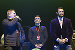 © Joel Goodman - 07973 332324 . No Editorial syndictaion permitted . 09/09/2017. Manchester , UK . Ricky Hatton , Anthony Crolla and Hughie Fury on the stage . We Are Manchester reopening charity concert at the Manchester Arena with performances by Manchester artists including  Noel Gallagher , Courteeners , Blossoms and the poet Tony Walsh . The Arena has been closed since 22nd May 2017 , after Salman Abedi's terrorist attack at an Ariana Grande concert killed 22 and injured 250 . Money raised will go towards the victims of the bombing . Photo credit : Joel Goodman