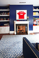 Blue wall in the sitting room