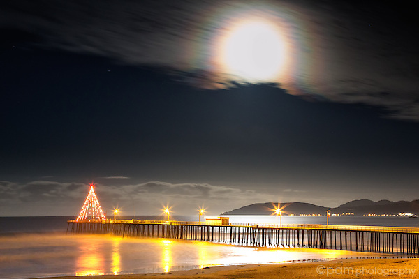 Moon over Pismo Beach Pier with Christmas Tree