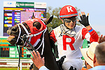 January 16, 2016:Miguel Mena celebrates after winning the Louisiana Stakes race with International Star at the Fairgrounds race course in the Louisiana Stakes race in New Orleans Louisiana. Steve Dalmado/ESW/CSM