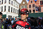 Thor Hushovd (NOR) BMC Racing Team at sign on before the start of the 96th edition of The Tour of Flanders 2012 in Bruges Market Square, running 256.9km from Bruges to Oudenaarde, Belgium. 1st April 2012. <br /> (Photo by Eoin Clarke/NEWSFILE).