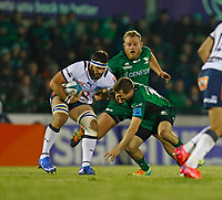 1st October 2021;  The Sportsground, Galway, Ireland; United Rugby Championships, Connacht versus Bulls; Finlay Bealham and Jack Carty (Connacht) try to stop Marcell Coetzee  (Bulls)