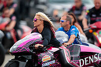 Aug 31, 2019; Clermont, IN, USA; NHRA pro stock motorcycle rider Angie Smith during qualifying for the US Nationals at Lucas Oil Raceway. Mandatory Credit: Mark J. Rebilas-USA TODAY Sports