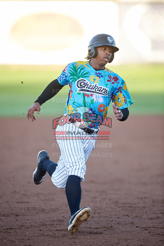 Idaho Falls Chukars Ismaldo Rodriguez (6) runs to third base during a Pioneer League game against the Missoula Osprey at Melaleuca Field on August 20, 2019 in Idaho Falls, Idaho. Idaho Falls defeated Missoula 6-3. (Zachary Lucy/Four Seam Images)