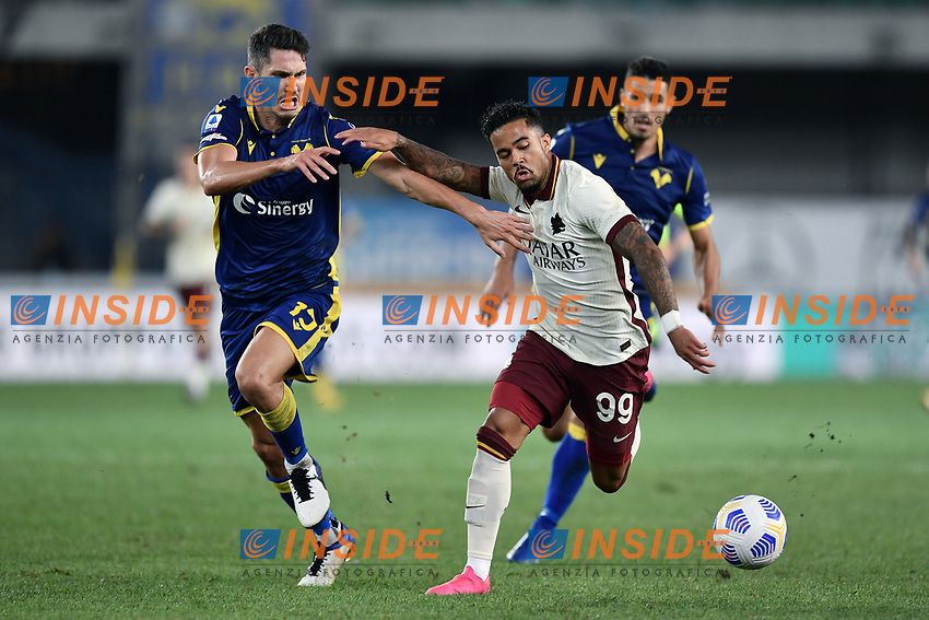 Justin Kluivert-Mert Yildirim Cetin <br /> Serie A football match between Hellas Verona and AS Roma at Marcantonio Bentegodi Stadium in Verona (Italy), September 19th, 2020. Photo Image Sport / Insidefoto