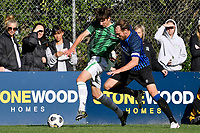Taylor Schrijvers of the Miramar Rangers competes for the ball with James Murdoch-Gbbs of the Wainuiomata AFC during the Central League Football - Miramar Rangers AFC v Wainuiomata AFC at David Farrington Park, Wellington, New Zealand on Saturday 17 April 2021.<br /> Copyright photo: Masanori Udagawa /  www.photosport.nz
