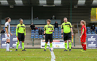 Referees and team captains pictured at the coin toss before  a female soccer game between FC Femina White Star Woluwe and Sporting Charleroi on the 10 th matchday of the 2020 - 2021 season of Belgian Scooore Womens Super League , Saturday 19 th of December 2020  in Woluwe , Belgium . PHOTO SPORTPIX.BE | SPP | SEVIL OKTEM
