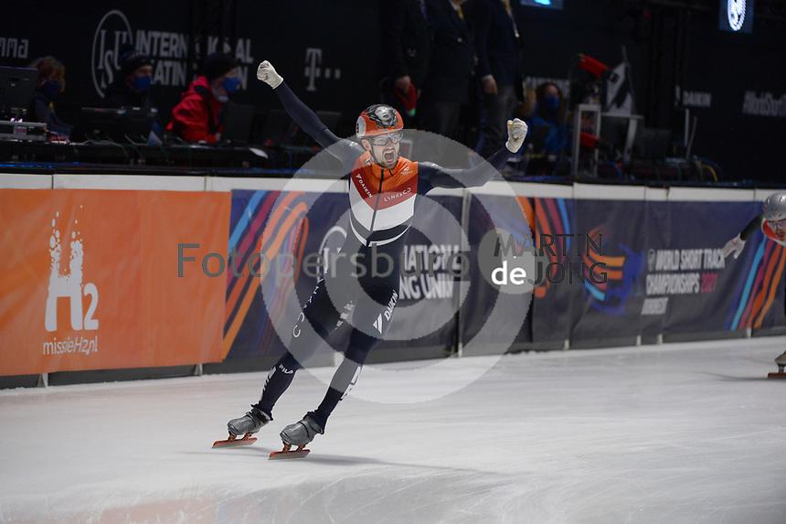 SPEEDSKATING: DORDRECHT: 07-03-2021, ISU World Short Track Speedskating Championships, Final A 5000m Relay, Itzhak de Laat (NED), ©photo Martin de Jong