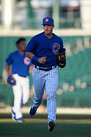 AZL Cubs 1 second baseman Zack Short (3) jogs off the field between innings of a rehab assignment in an Arizona League game against the AZL Angels on June 24, 2019 at Sloan Park in Mesa, Arizona. AZL Cubs 1 defeated the AZL Angels 12-0. (Zachary Lucy / Four Seam Images)