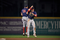Portland Sea Dogs shortstop C.J. Chatham (15) and second baseman Brett Netzer (3) celebrate after closing out an Eastern League game against the Erie SeaWolves on June 17, 2019 at UPMC Park in Erie, Pennsylvania.  Portland defeated Erie 6-3.  (Mike Janes/Four Seam Images)