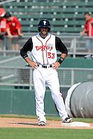 Lansing Lugnuts pinch runner Jason Leblebijian (38) during a game against the Dayton Dragons on August 25, 2013 at Cooley Law School Stadium in Lansing, Michigan.  Dayton defeated Lansing 5-4 in 11 innings.  (Mike Janes/Four Seam Images)