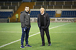 Greenock Morton v St Johnstone...27.10.15  League Cup Quarter Final, Cappielow...<br /> Suspended saints captain Dave Mackay talks with Morton manager Jim Duffy before kick off<br /> Picture by Graeme Hart.<br /> Copyright Perthshire Picture Agency<br /> Tel: 01738 623350  Mobile: 07990 594431