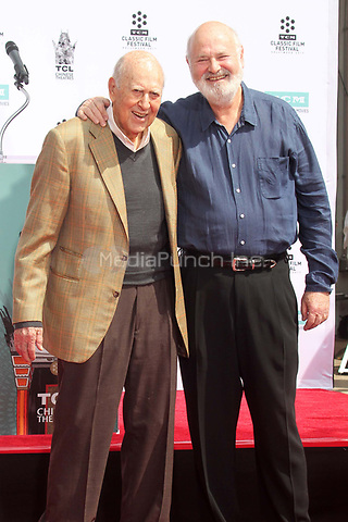 HOLLYWOOD, CA - APRIL 7:  Carl Reiner, Rob Reiner pictured at the Father and Son Hand and Foot Print Ceremony for Carl Reiner and Rob Reiner at the TCL Chinese Theater in Hollywood, California on April 7, 2017. Credit: David Edwards/MediaPunch
