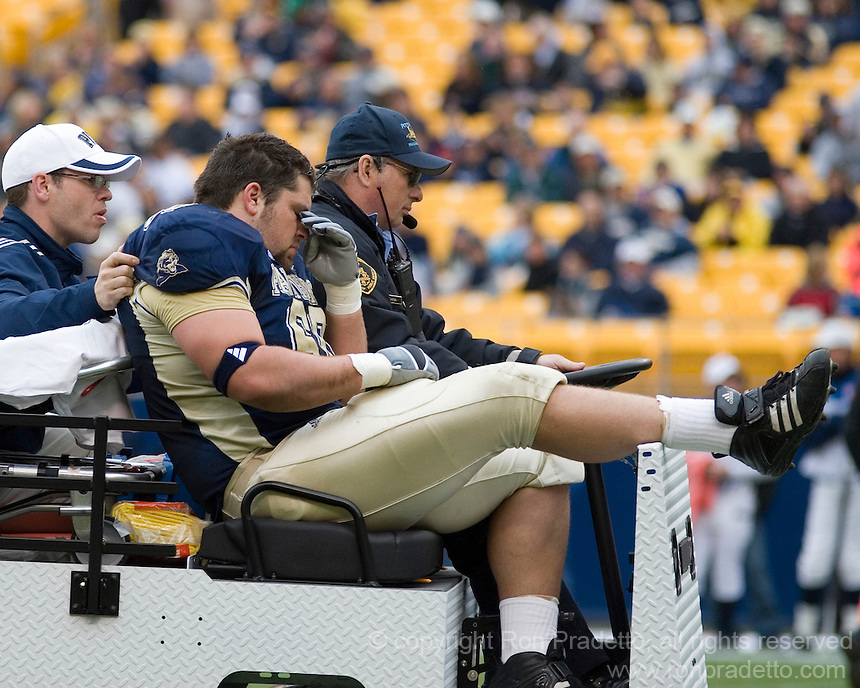 30 September 2006: Pitt offensive lineman John Simonitis is carted off the field after a season-ending injury.  The Pitt Panthers defeated the Toledo Rockets 45-3 on September 30, 2006 at Heinz Field, Pittsburgh, Pennsylvania.