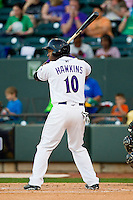 Courtney Hawkins (10) of the Winston-Salem Dash at bat against the Carolina Mudcats at BB&T Ballpark on April 13, 2013 in Winston-Salem, North Carolina.  The Dash defeated the Mudcats 4-1.  (Brian Westerholt/Four Seam Images)
